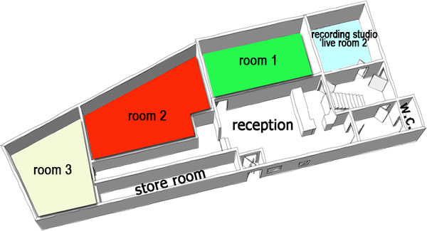 3d drawing of rehearsal rooms